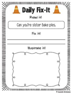 Daily Fix-It. Great way to practice editing/proofreading. This freebie contains 50 examples so that you can keep up the practice throughout the entire school year!