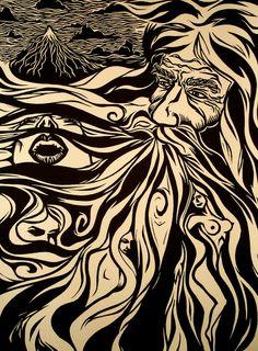 Darrel Perkins - Zeus - linocut