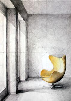 Klara Ostaniewicz - rysunki: Egg chair - Arne Jacobsen