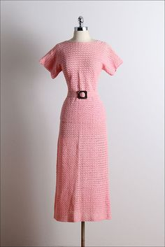 Vintage 30s Dress  1930s vintage crochet set  by millstreetvintage