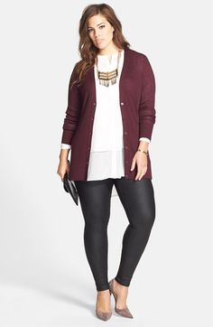 Sejour Cardigan, DKNYC Blouse & City Chic Skinny Jeans (Plus Size)  available at #Nordstrom