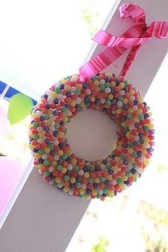 Gumdrop wreath to go on front door for gingerbread theme, perfect!
