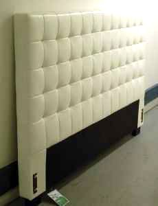 LA Scavenger: White Tufted Cal King Leather Headboard for $395