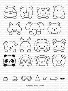 This is a inch clear stamp set. Approximate Measurements: Elephant - x 1 inch Sloth - 1 x 1 inch Tophat - x inch Easy Animal Drawings, Cute Easy Drawings, Art Drawings For Kids, Kawaii Drawings, Drawing For Kids, How To Draw Kids, How To Draw Animals, Kawaii Doodles, Cute Doodles