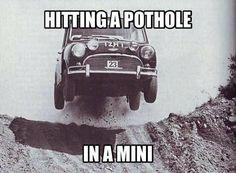 Catching Air Mini Cooper 2017, Cooper Car, Mini Countryman, Mini Clubman, Funny Car Memes, Car Humor, Classic Mini, Classic Cars, How To Cure Depression