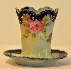 Antique Hand Painted Porcelain Toothpick Holder Cobalt w/gold Accents NO RESERVE