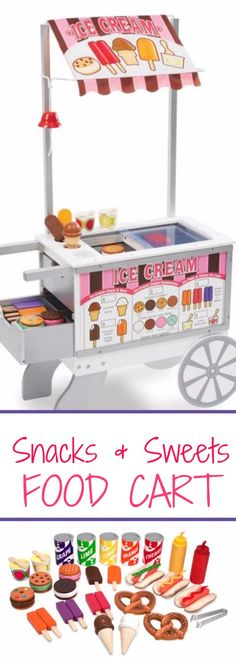 Melissa & Doug Snacks and Sweets Food Cart. Beautifully constructed of durable, wooden street-food vendor cart Wooden Toys, Play Food, Play Time, Kids' Toys, Children's Gift Ideas -Sponsored