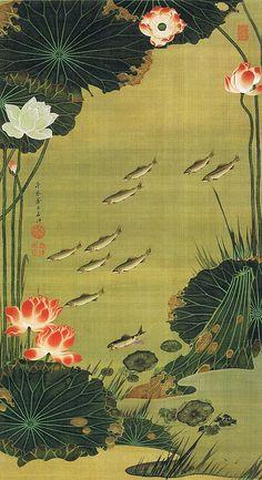 """動植綵絵 第二期( 1761-1765 ), 17. 蓮池遊魚図[えんち ゆうぎょ ず] , """"Pictures of the Colorful Realm of Living Beings"""", Jakuchu Ito"""