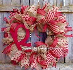 Deco Mesh Wreath Burlap Wreath Ruffle Wreath by DawslynDecor