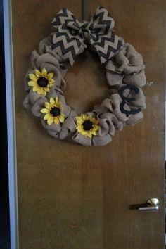 Burlap wreath with monogram and flowers