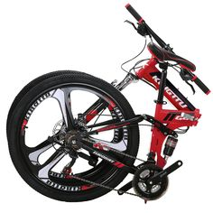 Kingttu Mountain Bike 26 Inches 3 Spoke Wheels Dual Suspension Folding Bike 21 Speed MTB Red 2018 >>> Check this awesome product by going to the link at the image. (This is an affiliate link) Boys Mountain Bike, Mountain Biking, Online Bike Shop, Mtb Bicycle, Wheels, Full Suspension, Outdoors, Amazon, Link