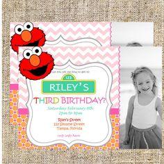 Elmo Invitations, Girly Elmo Invitation, Girls Elmo Invitation, Elmo Birthday, Elmo Party + FREE Matching Thank You Card! on Etsy, $7.00