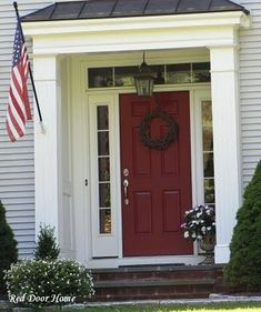 Image result for tudor home front door portico red white
