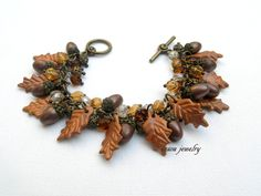 #Acorn #Bracelet #Fall Bracelet Fall Leaves Acorn by insoujewelry