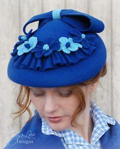 Blue Victorian Hat Felt Flower Halo Hat by GreenTrunkDesigns