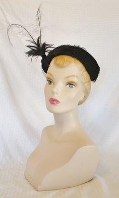 1950s Vintage Black Velvet Cocktail Hat with by MyVintageHatShop