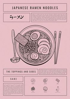 Trendy typography poster with illustrations depicting the Japanese dish Ramen. The print runs in a dull pink color where the black font and illustrations create cool contrasts. The background has a graininess that provides more depth to the motif. Graphic Design Layouts, Graphic Design Posters, Graphic Design Typography, Graphic Design Inspiration, Logo Design, Japanese Typography, Food Graphic Design, Poster Designs, Minimalist Design Poster