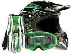 http://motorcyclespareparts.net/adult-offroad-helmet-goggles-gloves-gear-combo-dot-motocross-atv-dirt-bike-mx-black-green-splatter-large/Adult Offroad Helmet Goggles Gloves Gear Combo DOT Motocross ATV Dirt Bike MX Black Green Splatter ( Large )