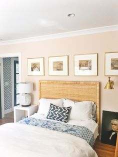 Farrow & Ball's Pink Ground has a dose of yellow pigment to create the softest, dustiest, blush of colour on any wall. Pencil & Paper Co. found this light hue to be the perfect balance for their bedroom wall.