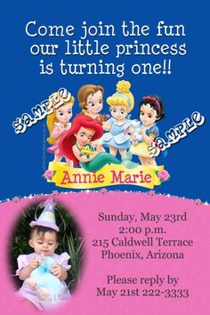 Princess Babies Birthday Invitations  -  Get these invitations RIGHT NOW. Design yourself online, download and print IMMEDIATELY! Or choose my printing services. No software download is required. Free to try!
