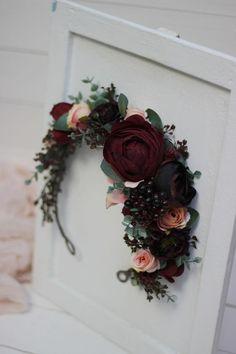 Deep red blush pink flower crown Burgundy floral headpiece | Etsy Dark Flowers, Burgundy Flowers, Flowers In Hair, Fabric Flowers, Bridesmaid Hair Flowers, Bridal Flowers, Flower Headpiece, Headpiece Wedding, Flower Headband Wedding