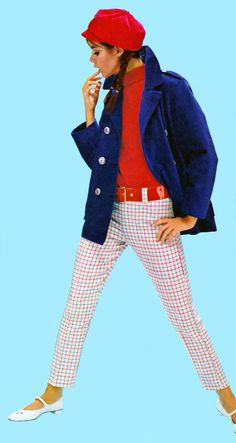 Inspiration: Vintage Belts, Colleen Corby 1967 vintage fashion style color photo print ad late 60s mod look austin British twiggy hat cap pea coat pencil pants hip huggers belt sweater knit red white blue shoes