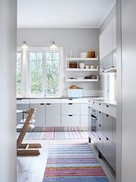 I have pinned this because the size is similar to yours, for looking south toward the sliding doors.  The windows in this image would be over your sinks (for Design Option II).  The floating shelves (with cabinets below) would not be there as that is the exterior door swing space (for option II).