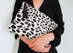 OVERSIZE Dalmatian Print Calf Hair Zipper Pouch Leather Clutch, via Etsy.
