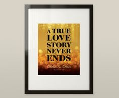 """A True Love Story Never Ends"" artwork, wedding gift, designed by Megan Brohawn"