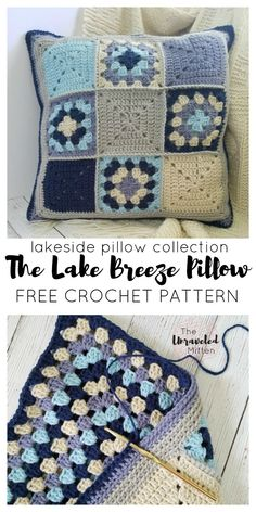 Lakeside Pillow Collection: The Lake Breeze Pillow Part 1 - Free Crochet Pattern at The Unraveled Mitten Crochet Cushion Cover, Crochet Pillow Pattern, Crochet Cushions, Granny Square Crochet Pattern, Crochet Squares, Crochet Granny, Easy Crochet, Crochet Baby, Free Crochet