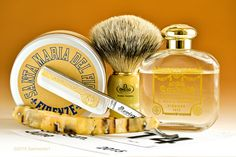 "Santa Maria del Fiori Razorock shave cream, Omega badger brush, Revisor 5/8"" straight razor, Santa Maria Novella Tabacco Toscano cologne, June 15, 2015.  ©Sarimento1"