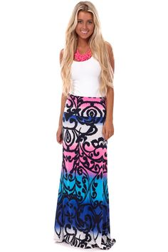 4bc639ec3 Lime Lush Boutique - Blue Multi Color Damask Print Maxi Skirt, $23.95 (http: