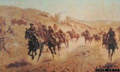 Action of the 6th Mounted Brigade at El Muhgar by J P Beadle. Depicting the charge of the Bucks, Berks and Dorset Yeomanry on November 13th 1917 during the Palestine campaign.