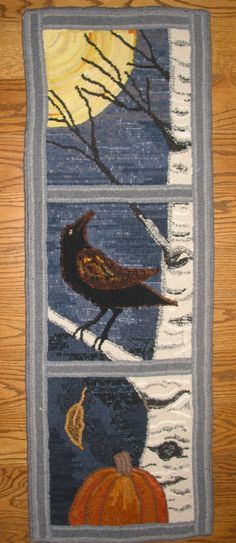 This would be a pretty quilted fabric fall wall hanging as well as a great wool rug. LOOK OUT-- Designed and hooked by Fritz Mitnick