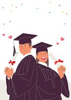 SPAI168, 프리진, 일러스트, 교육, 학생, 사람, 에프지아이, 졸업, 축제, 학교, 학원, 페인터, 축하, 기념일, 웃음, 미소, 행복, 여자, 남자, 여학생, 남학생, 학사모, 학위복, 꽃가루, 장식, 깃발, 상반신, 서있는, 대학생, 대학교, 대학, 2인, 리본, 하트, illust, illustration #유토이미지 #프리진 #utoimage #freegine 20134707