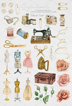Atelier - sewing kit by Crystalina on Journal Stickers, Planner Stickers, Sewing Art, Sewing Crafts, Sewing Clipart, Scrapbooking Photo, Aesthetic Stickers, Vintage Sewing, Watercolor Illustration