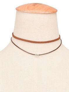 Faux cuero cuerda con cuentas en capas Gargantilla