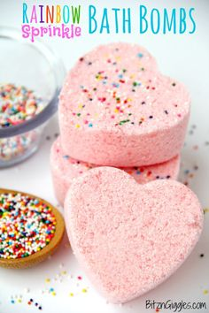 Rainbow Sprinkle Bath Bombs - Watch the rainbow of colors appear when these bath bombs hit the water and start to fizz! They smell great, they're fun to make and they're soothing to the skin!