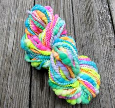 Handspun Yarn, Art Yarn, Coil Ply, Spiral Ply, Merino, Bulky, Wool, Neon, Coily Highlighters