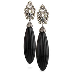 Bochic earrings in jet engraved and diamonds