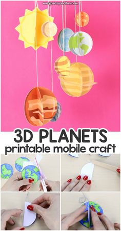 Paper Mobile Planets Craft Template - Solar System Craft Paper Mobile Planets Craft for Kids. Fun paper activity for Paper Mobile Planets Craft for Kids. Fun paper activity for kids. Solar System Projects For Kids, Solar System Crafts, 3d Solar System Project, Solar System Mobile, Solar System Activities, Solar System Kids, Solar Kids, Planets Activities, Mobile Craft