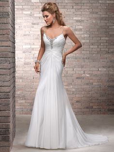Sheath/Column Spaghetti Straps Chiffon Sweep Train White Beading Wedding Dress