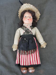 "Vintage 9"" Tall Dutch Girl Doll Red & White Skirt Paper Mache Head"