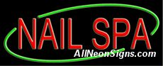 """Nails Spa Neon Sign-10585-5858  13"""" Wide x 32"""" Tall x 3"""" Deep  110 volt U.L. 2161 transformers  Cool, Quiet, Energy Efficient  Hardware & chain are included  6' Power cord  For indoor use only  1 Year Warranty/electrical components  1 Year Warranty/standard transformers."""