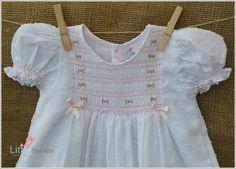 Beautiful Hand Smocked Spot Voile Baby Dress por LittleSmock