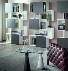 Шкаф для книг, гостиная, стильный интерьер @covetlounge  Piquant Designer Regal grau - chic verpackt