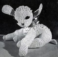 Toy Lamb crochet pattern from Ideas for Gifts, originally published by Coats & Clark, Book 255, in 1949.