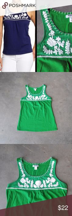 Old Navy Mexicali Embroidered Tank in Green Old Navy tank, size small, in excellent condition! Features white embroidery around shoulders and neckline. Vibrant green color. Cover photo from Old Navy website. No trades. No modeling. Make a reasonable offer. Thanks! Old Navy Tops Tank Tops