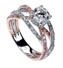 white and rose gold with white and pink diamonds.