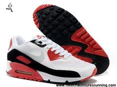 Blanc Noir and Rouge Nike Air Max 90 Hyperfuse Hommes Trainers
